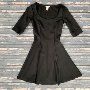 H&M Solid Black Fit and Flare Skater Dress
